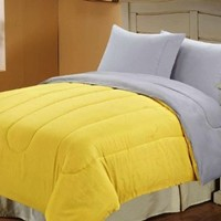 BlowoutBedding - Multiple Sizes & Colors - Down Alternative Reversible Comforter Yellow/Grey - Full/Queen: Home & Kitchen