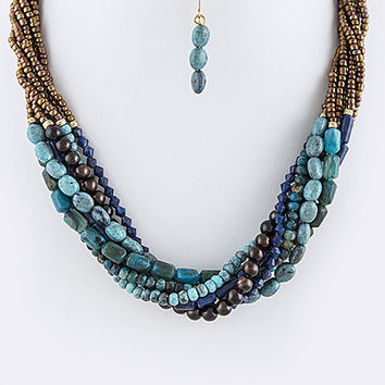 Seed Bead Twisted Necklace