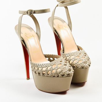 PEAPU2C Christian Louboutin Taupe Leather Woven Ultra High Platform Sandals