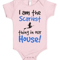 "Girls Halloween Baby One Piece in Pink ""I am the scariest thing in ..."