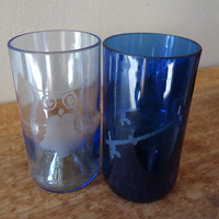 Owl and Key Recycled Wine Bottle Glasses in Light and Dark Blue made for Kappa Kappa Gamma Sorority Sister Set of 2