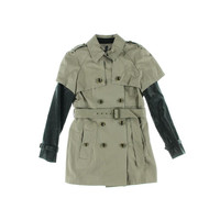 W118 Womens Cotton Faux Leather Trim Trench Coat