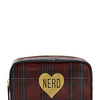 FOREVER 21 Plaid Nerd Cosmetic Bag Red/Black One