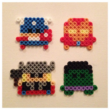 The Avengers Perler Magnets Set of 4 by K8BitHero on Etsy