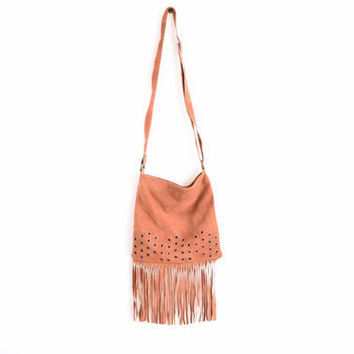 Vintage Boho Suede Fringe Shoulder Bag - Leather Bohemian Suede Purse - Rustic Tribal Hippie Purse