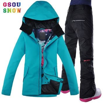 Gsou Snow Womens Snowboarding Jackets Suits Pants Winter Jacket Women Ski Suit Manteau Femme Hiver Female Skiing Outdoor Sports