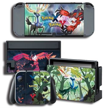 Color Stickers Vinyl Screen Sticker for  X/Y Skins Stickers for Nintendo Switch NS Console+Controller+Stand StickerKawaii Pokemon go  AT_89_9