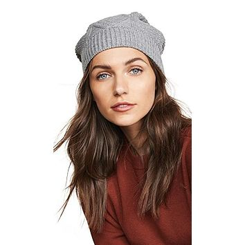 Plush Diamond Knit Beanie Heather Grey