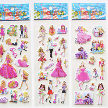 6 Sheets set Cartoon anime Stickers for kids Home decor Pink Princess 3D sticker notebook decal fridge skateboard doodle toy
