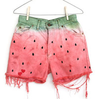 WATERMELON SHORTS, hand painted LEVIS cut offs