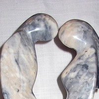 Hand Carved Marble Kissing Couple Statue Sculpture