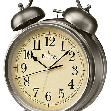 Bulova Brayton Bell Alarm Clock - Off-White Parchment Dial - Bronze Finish