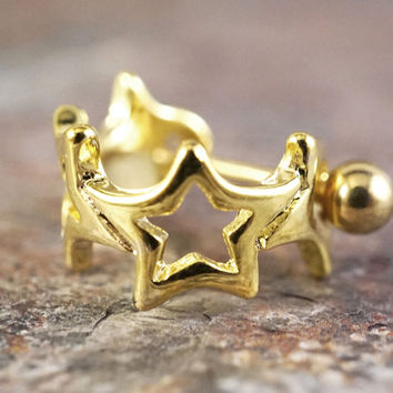 Gold Star Cartilage Ear Cuff 16g Earring