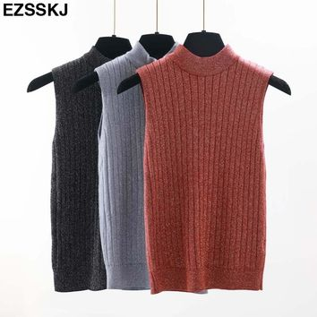 Ezsskj bling spring sexy Glitter knit Tank Tops Women girls highneck top shiny sleeveless t shirt shiny female crop top