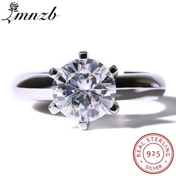 LMNZB Brand Female White Solitaire Ring 1.5ct AAAAA Zircon CZ 925 Sterling Silver Engagement Wedding Band Ring for Women LR12102
