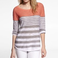 ROLLED SLEEVE COLOR BLOCK TUNIC SWEATER