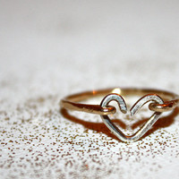 lacerta -  14k gold & sterling heart stacking ring by lilla stjarna - gifts under 50 - Valentine's Day - gold heart ring - wedding ring