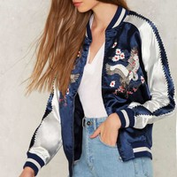 Light as a Feather Embroidered Bomber Jacket