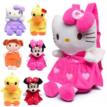 Minnie Mouse Backpacks Hello Kitty Plush Backpacks Toys Schoolbag Kitten Cartoon Kindergarten Kid Doll Animal Cat Backpack