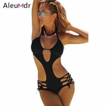 DCCKL6D Aleumdr One Piece High Cut Swimsuit Women Strappy Crisscross Cut-out Backless Monokini LC410099 Trajes De Bano De Mujer
