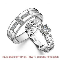 18K White Gold Plated Cross and Heart Couple Band Ring 2 PIECE SET (TWO RINGS)