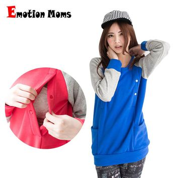 Emotion Moms Winter Maternity Clothes Long Sleeve Nursing Top Breastfeeding Tops for pregnant women Maternity Hoodie sweater