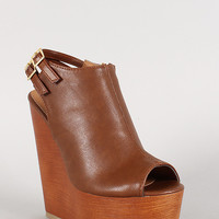 Soda Double Buckle Faux Wood Open Toe Wedge
