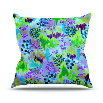 "Ebi Emporium ""Lagoon Love"" Lavender Green Outdoor Throw Pillow"