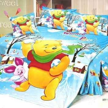 Winnie the Pooh bedding sets Children's bedroom decor single twin size bed sheets quilt duvet covers 3pcs no filler blue yellow