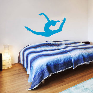 Wall Decal Vinyl Sticker Decals Home Decor Mural Ballerina Acrobatics Girl Ballet Dancer Gymnastics Sport Jump Bedroom Dance Studio AN201