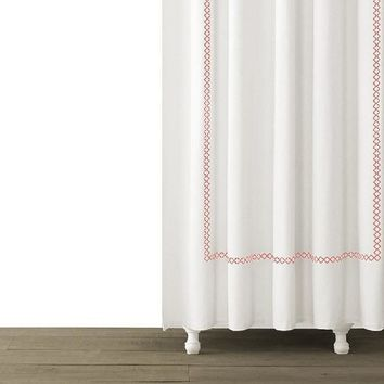Tivoli Embroidered Shower Curtain | Coral