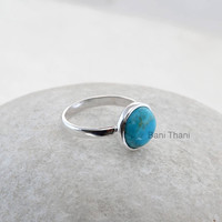 Blue Arizona Turquoise Round 10mm Ring - Sterling Silver Ring - Wholesale Ring - Gemstone Jewelry - Bezel Ring Jewelry - #1223