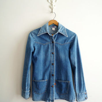 Vintage 70s LEVIS Denim Snap Front Jacket with Pockets