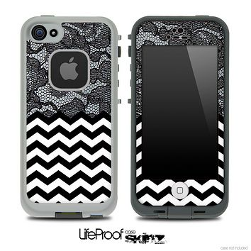Mixed Blackened Lace and Chevron Pattern Skin for the iPhone 5 or 4/4s LifeProof Case