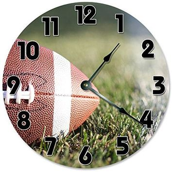 "Large 10.5"" Wall Clock Decorative Round Wall Clock Home Decor Novelty FOOTBALL CLOCK"