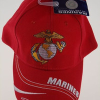 US Marines Few Proud Eagle Globe Baseball Cap Hat Red Embroidered Adjustable Pin