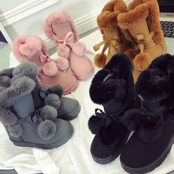 Middle Tube Artificial Fur Fluffy Ball Snow Boots Uggs