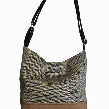 Hobo Bag Herringbone Burlap Black and Tan Brown, Shoulder Cross Body Bag Adjustable Strap