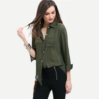 Lapel Army Green Pocket Long Sleeve Blouses