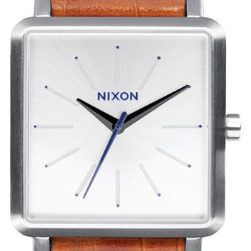 Women's Nixon 'The K Squared' Leather Strap Watch, 32mm x 30mm - Saddle/ White