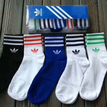 5  Pair Adidas Stripe Cotton Unisex Lovers' Sports Socks