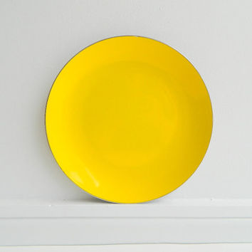 Cathrineholm Enamel Yellow Plate Norway