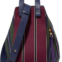 Loewe - Hammock leather-trimmed striped canvas shoulder bag