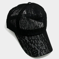 Black Floral lace baseball cap, One Size Fits All, Unisex Gift Idea