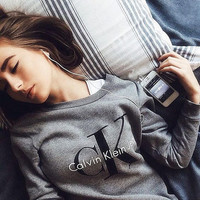 """Fashion """"Calvin Klein"""" Letter Print Round-neck Long Sleeve Pullover Tops Sweater"""
