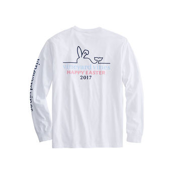 Long-Sleeve Happy Easter 2017 Whale Line Pocket T-Shirt