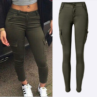 2016 New Fashion High Quality Army Green Woman Sexy Low rise Jeans Ladies Skinny Jean Slim Femme plus size