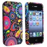 eForCity TPU Rubber Skin Case compatible with Apple iPhone 4 / 4S, Black / Colorful Fish and Circles:Amazon:Cell Phones & Accessories