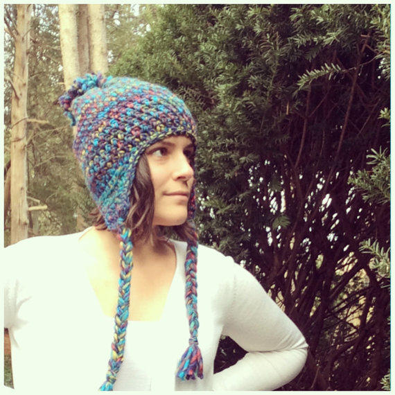 Slouchy Hat Beanie Crochet Ear Flap Hat From Woodsycottage On