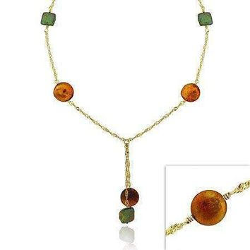 18K Gold over Sterling Silver Tri Color Freshwater Cultured Coin Pearl Lariat Necklace